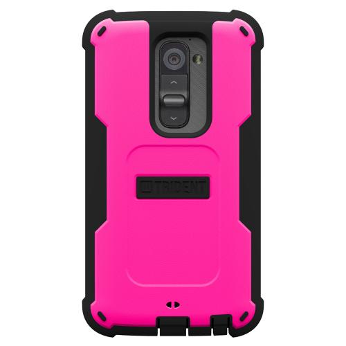 Trident Hot Pink/ Black Cyclops Series Thermo Poly Elastomer (super Tough) Hard Case W/ Built-in Screen Protector For Lg G2 (all Carriers!)