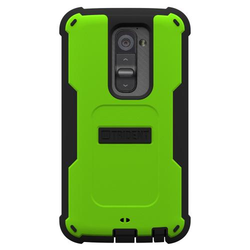 Trident Lime Green/ Black Cyclops Series Thermo Poly Elastomer (super Tough) Hard Case W/ Built-in Screen Protector For Lg G2 (all Carriers)