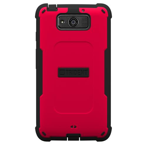 Trident Red/ Black Cyclops Series Thermo Poly Elastomer (super Tough) Hard Case W/ Built-in Screen Protector For Motorola Droid Maxx