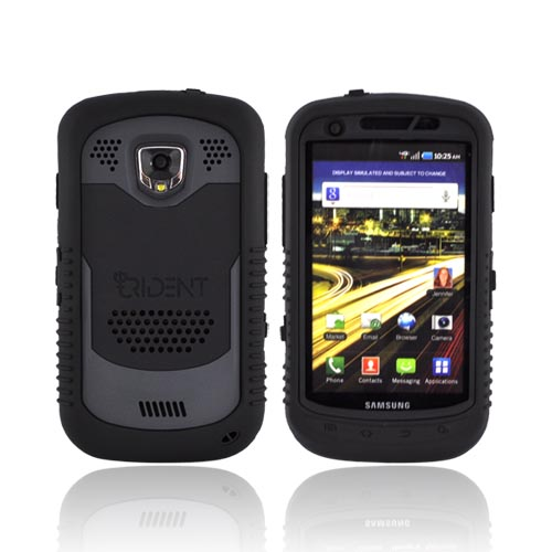 Original Trident Cyclops Samsung Droid Charge Silicone on Rubberized Hard Case w/ Screen Protector, CY-SCHG-BK - Black/ Gray