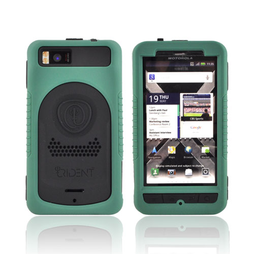 Original Trident Cyclops II Motorola Droid X MB810/ X2 Anti-Skid Hard Cover Over Silicone Case w/ Screen Protector, CY2-DX2-BG - Green/ Black