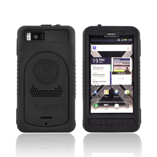 Original Trident Cyclops II Motorola Droid X MB810/ X2 Anti-Skid Hard Cover Over Silicone Case w/ Screen Protector, CY2-DX2-BK - Black