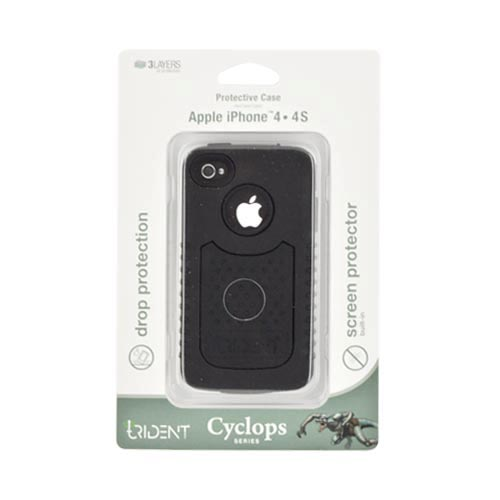 Original Trident Cyclops II AT&T/ Verizon Apple iPhone 4, iPhone 4S Rubberized Hard Case on Silicone w/ Built-in Screen Protector, CY2-IPH4-BK - Black