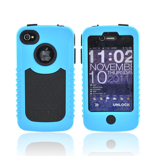 Original Trident Cyclops II AT&T/ Verizon Apple iPhone 4, iPhone 4S Rubberized Hard Case on Silicone w/ Built-in Screen Protector, CY2-IPH4-BL - Blue/ Black