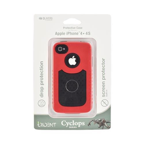Genuine Trident Cyclops Ii At&t;/ Verizon Apple Iphone 4, Iphone 4s Rubberized Hard Case On Silicone W/ Built-in Screen Protector - Red/ Black