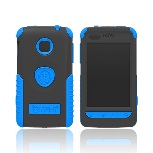 Original Trident Cyclops II LG Optimus 2 Anti-Skid Hard Cover Over Silicone Case w/ Built-In Screen Protector, CY2-LG-L45C-BL - Blue/ Black