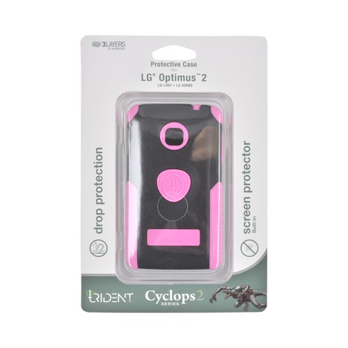 Original Trident Cyclops II LG Optimus 2 Anti-Skid Hard Cover Over Silicone Case w/ Built-In Screen Protector, CY2-LG-L45C-PK - Pink/ Black