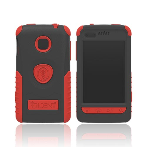 Original Trident Cyclops II LG Optimus 2 Anti-Skid Hard Cover Over Silicone Case w/ Built-In Screen Protector, CY2-LG-L45C-RD - Red/ Black