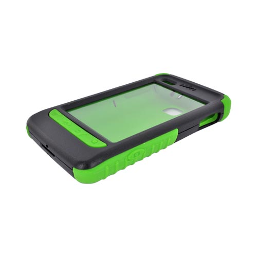 Original Trident Cyclops II LG Optimus 2 Anti-Skid Hard Cover Over Silicone Case w/ Built-In Screen Protector, CY2-LG-L45C-TG - Green/ Black