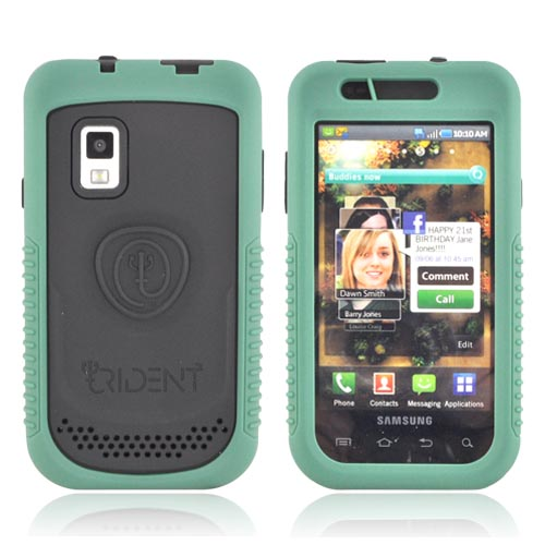 Original Trident Cyclops II Samsung Fascinate i500 Anti-Skid Hard Cover Over Silicone Case w/ Built-In Screen Protector, CY2-SFAS-BG - Green/ Black