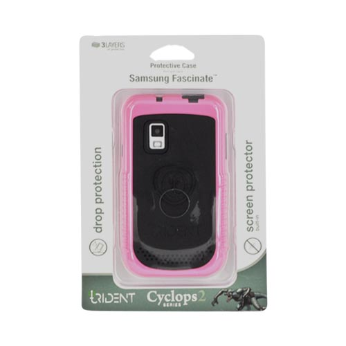 Original Trident Cyclops II Samsung Fascinate i500 Anti-Skid Hard Cover Over Silicone Case w/ Built-In Screen Protector, CY2-SFAS-PK - Pink/ Black