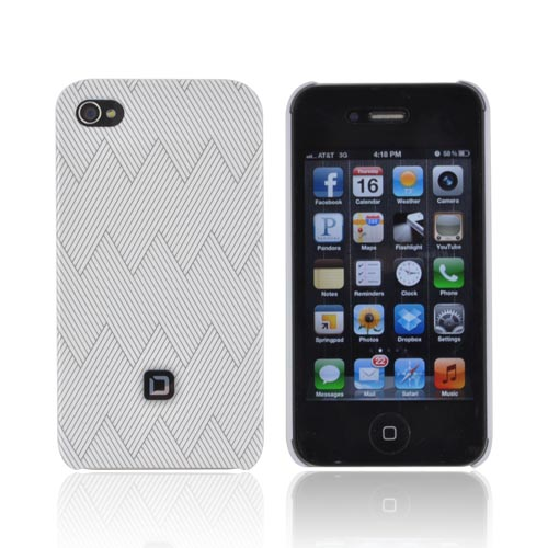 Original Dicota AT&T/ Verizon Apple iPhone 4, iPhone 4S Hard Case, D30441 - Gray Zig Zag Design on White