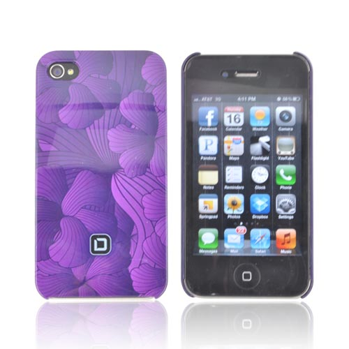 Original Dicota AT&T/ Verizon Apple iPhone 4, iPhone 4S Hard Case, D30443 - Purple Hawaiian Flowers
