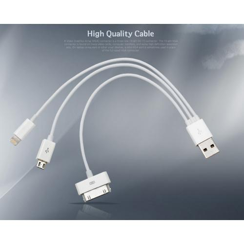 White 3-in-1 Data Cable w/ iPhone 30 Pin, Micro USB, & Lightning Compatible Adapters [Charge Apple and Android devices all at the same time! No more fighting over who uses the charging station]