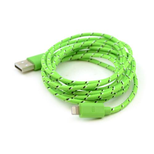 Lime Green Braided Fabric 6 FT. USB to Lightning Charge & Sync Data Cable for Apple iPhone 5/5S/5C/ iPod Touch 5/ iPad Mini