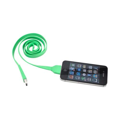 Universal Apple iPhone/iPod (All Gen.) USB 2.0 Charge & Sync Flat Data Cable - Green/ White