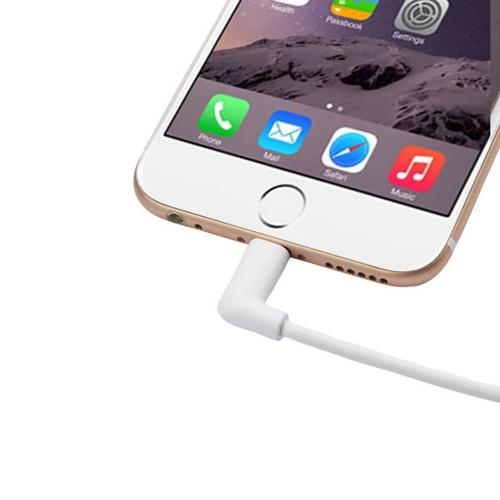 Apple MFI Certified [90-degree Angle] Lightning Compatible to USB Charge & Sync [4FT] Data Cable [White]