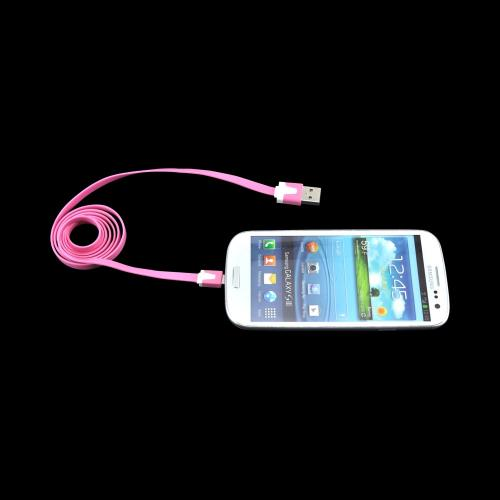 Universal USB 2.0 to Micro USB Charge & Sync Flat Data Cable - Pink/ White