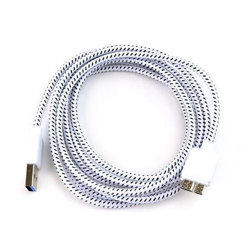 White/ Black Braided Fabric 6 FT. Micro USB 3.0 to USB Charge & Sync Data Cable for Samsung Galaxy Note 3/ Galaxy S5