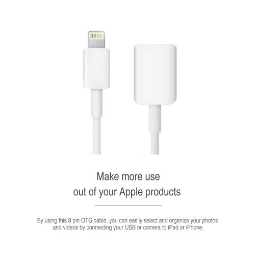 White USB A 2.0 Female to Lightning B Male On-The-Go (OTG)Adapter Data Cable