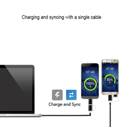 Type-C & Micro USB 2-in-1 Charge/ Sync Data Cable 3 FT [Black]