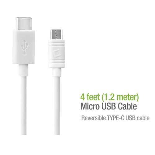 Micro USB to USB Reversible Type-C Cable [White]