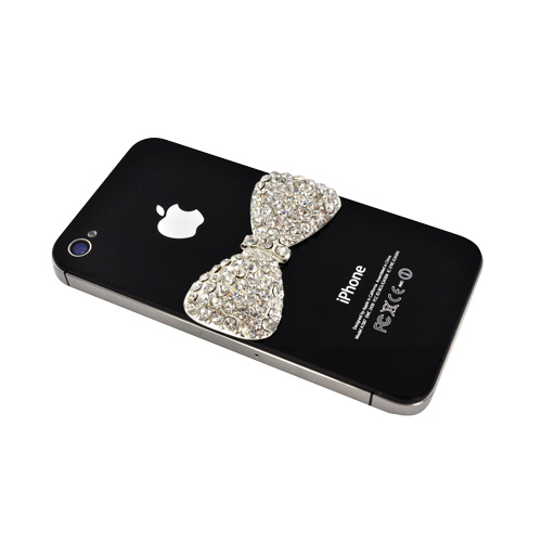 Universal Cell Phone/ MP3/ Tablet Bling Charm - Silver Bow