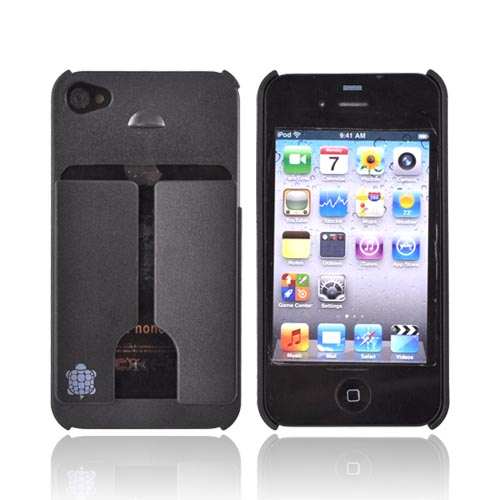 Original TRTL BOT Apple AT&T/ Verizon iPhone 4, iPhone 4S MINIMALIST Hard Case w/ ID Holder, DR2011BLK - Black