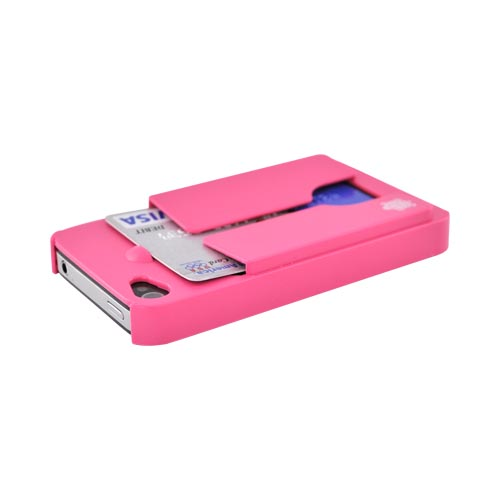 Original TRTL BOT Apple AT&T/ Verizon iPhone 4, iPhone 4S MINIMALIST Hard Case w/ ID Holder, DR2011PNK - Hot Pink