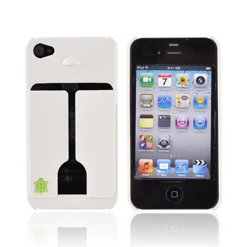 Original TRTL BOT Apple AT&T/ Verizon iPhone 4, iPhone 4S MINIMALIST Hard Case w/ ID Holder, DR2011WHT - White