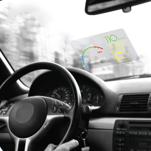 Ultimate Driving Bundle w/Head Up Display (HUD) Reflective Film, [Black] Car Non Slip Mat, & USB Car Charger Adapter
