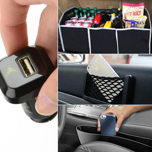 Ultimate Driving Bundle w/ Side Organizer, Net Holder, Trunk Organizer, and USB Car Charger Adapter
