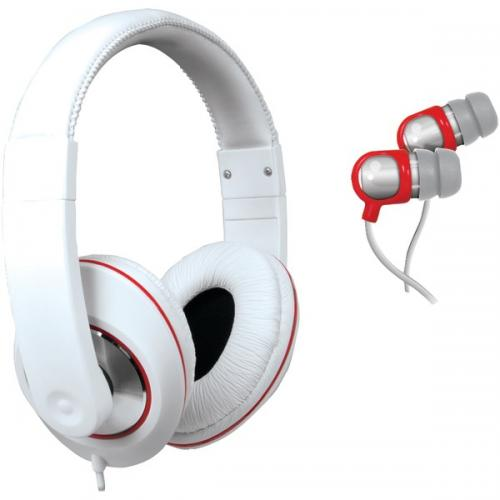 ISOUND DGHP-4005 2-In-1 Sound Kit DJ-Style Headphones & Earbuds (White)