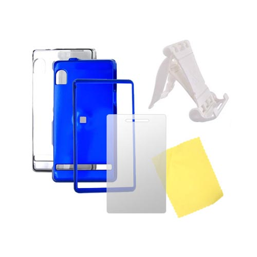 Motorola Droid A855 Essential Smoke Hard Case, Blue Hard Case, Screen Protector, and Stand Bundle Package