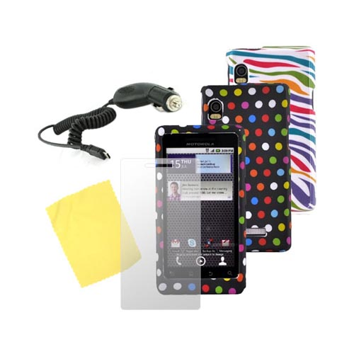 Motorola Droid 2 Essential Zebra Hard Case, Polka Dot Rubber Hard Case, Screen Protector, and Car Charger Bundle Package