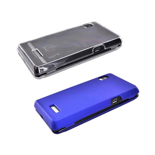 Motorola Droid 2 Essential Clear Hard Case, Blue Rubber Hard Case, Car Charger, and Screen Protector Bundle Package