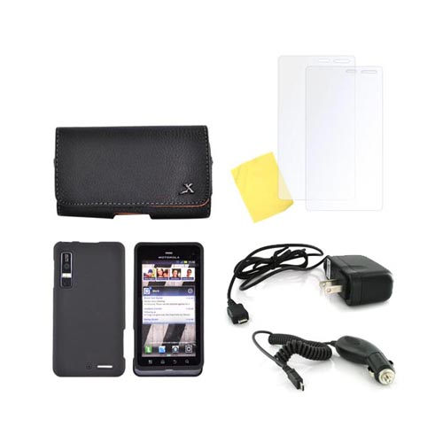 Motorola Droid 3 Essential Bundle Package w/ Black Rubberized Hard Case, 2 Pack Screen Protector, Leather Pouch, & Car & Travel Charger