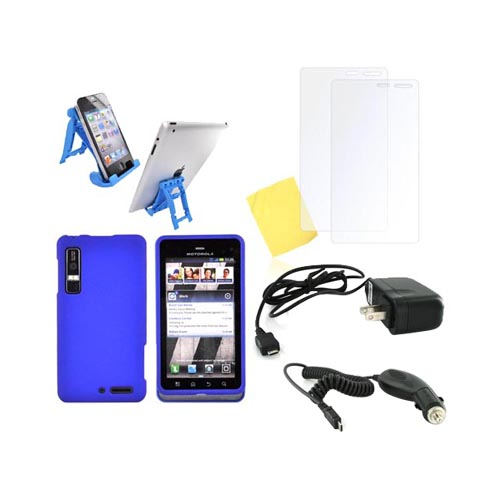 Motorola Droid 3 Essential Bundle Package w/ Blue Rubberized Hard Case, 2 Pack Screen Protector, Light Blue 3Feet Stand, Car & Travel Charger