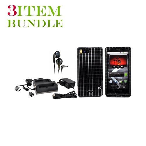 Motorola Droid X Bundle Package - Hard Case, Maxell Stereo Earbuds & Sync n' Charge Desktop Cradle - (College Combo)