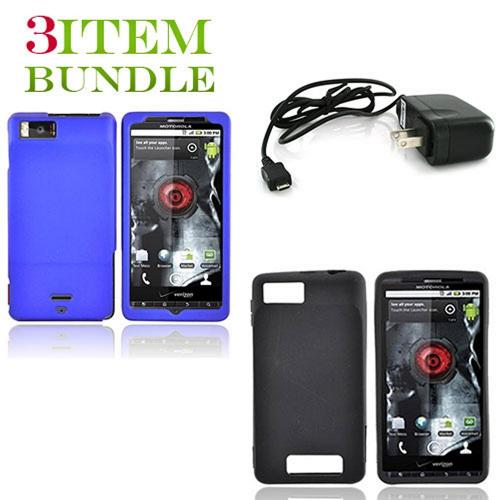 Motorola Droid X Bundle Package - Blue Hard Case, Silicone Case & Travel Charger - (Essential Combo)