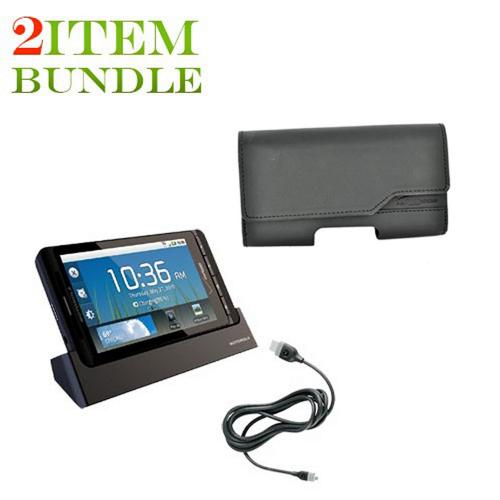 Motorola Droid X Bundle Package - Motorola HDMI Multimedia Station & Verizon Leather Horizontal Pouch - (Essential Combo)
