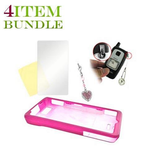 Motorola Droid X Bundle Package - Hard Case, Mirror Screen Protector & Sparkling Heart Charm - (Geeky in pink Combo)