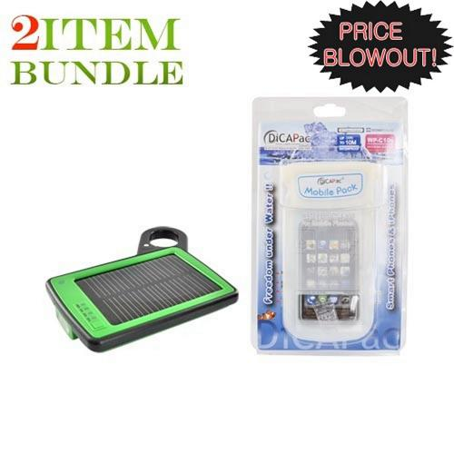 Motorola Droid X Bundle Package - Solar Power Charger & DiCAPac Waterproof Cell Phone Case - (Traveller Combo)