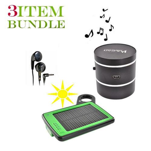 Motorola Droid X Bundle Package - Solar Charger & Car Charger, Maxell Stereo Earbuds & Vulcan Phantom Portable Speaker - (Traveller Combo)