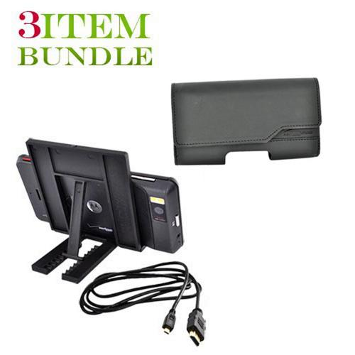 Motorola Droid X Bundle Package - HDMI D-Type Cable, Verizon Leather Horizontal Pouch & Tiko Folding Stand - (Workaholic Combo)