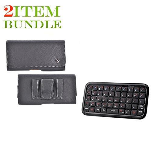 Motorola Droid X Bundle Package - Bluetooth Keyboard & Universal Leather Horizontal Holster Pouch - (Workaholic Combo)