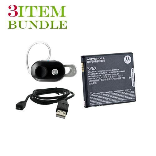 Motorola Droid X Bundle Package - Motorola Standard Battery, Micro USB Charge n' Sync Data Cable & Motorola H15 Bluetooth Headset - (Workaholic Combo)