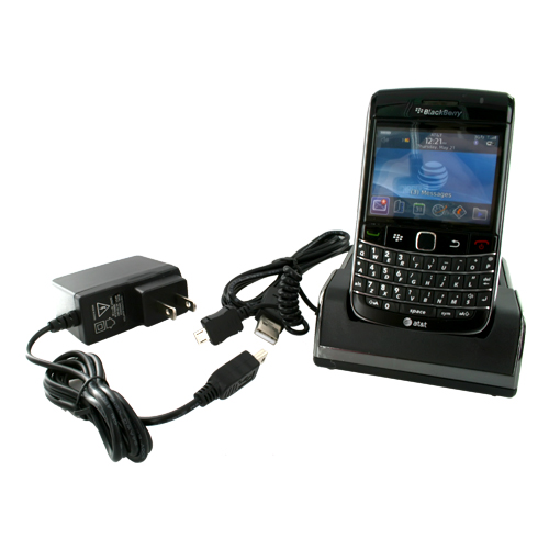 Blackberry Bold 9780 9700 Twin Cradle Desktop Phone & Battery Charger - Black