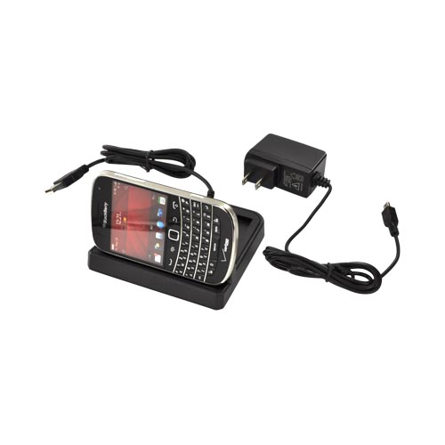 Blackberry Bold 9900, 9930 3-in-1 Cradle Desktop Sync n' Charge Phone/Battery Charger - Black