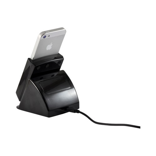 Rotating Charge and Sync Cradle w/ Micro USB Data Cable & Wall Adapter for Apple iPhone 5/5S - Black